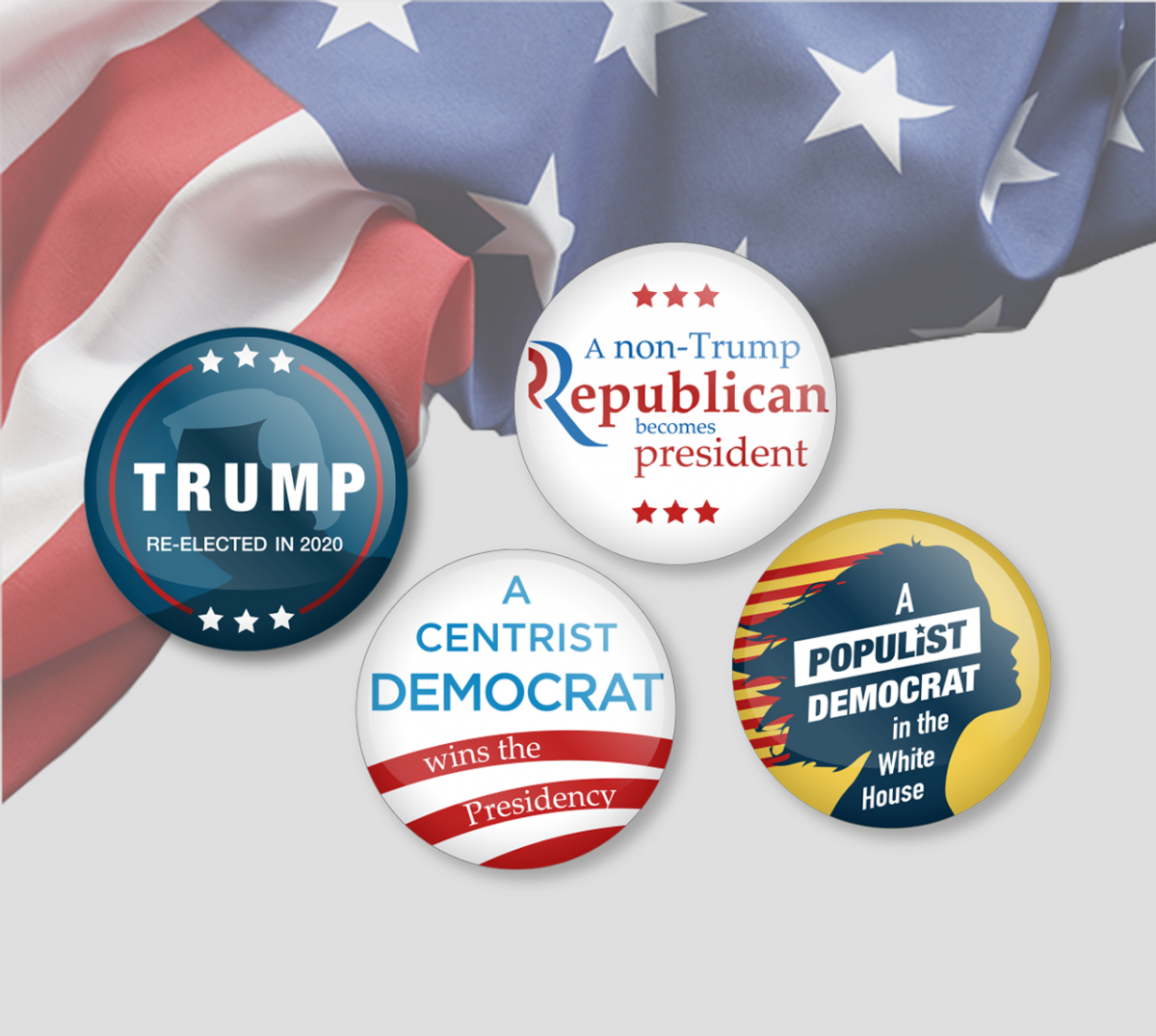 WR 5 PCS Donald Trump Badges Pins Make America Great Again For President USA